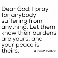 Memes, 🤖, and Dear God: Dear God  pray  for anybody  suffering from  anything. Let them  know their burdens  are yours, and  your peace is  theirs  #Trent Shelton