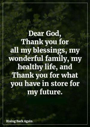Family, Future, and God: Dear God,  Thank you for  all my blessings, my  wonderful family, my |  healthy life, and  Thank you for what  you have in store for  my future.  Rising Back Again Amen Thank you 🙏💞