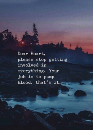 Heart, Blood, and Job: Dear Heart,  please stop getting  involved in  everything. Your  job is to pump  blood, that's it.
