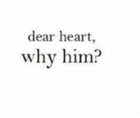 Heart, Him, and Why: dear heart,  why him?