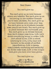 Dear Human <3: Dear Human  You can't give up.  You can't give up on love because  others are hateful. You can't give up on  believing in one another because  you've been let down. You can't give up  on hope because pain came your way.  You can't give up on kindness because  some people are cruel. You can't give up  on peace because war surrounds you.  You can't give up on dreams because  they don't always come true. Life isn't  about everything being in order. Life  isn't about bliss. Life is about  learning to live, love, hope and  believe in the midst of perfect  imperfection. Life  is mess  complicated, confusing and beautiful  all at the same time. Life is the single  best give you have ever been given.  You can't give up.  CSS  UN  VERSE Dear Human <3