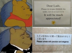 Please Try: Dear Lads  Please try to pee İNSİDE the  toilet, not on or next to it.  It will be much  appreciated!  トイレをきれいに使って頂きありがとう  ございます.  Please urinate with precision and elegance.  imgflip.com