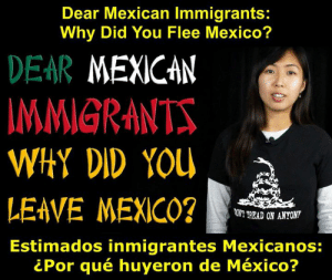 mexican immigrants: Dear Mexican Immigrants:  Why Did You Flee Mexico?  DEAR MEXICAN  MMIGRAN  WHY DID YOU  LEAVE MEXICO?2  Estimados inmigrantes Mexicanos:  T READ ON ANYONT  ¿Por qué huyeron de México?