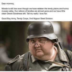 German letter found in on the western front (1943): Dear mommy,  Morale is still low even though we have retaken the tendy plains and hunny  mussie valley. Our rations of tendies are almost gone and we have little  clean Dewie Goodness left. Tell my waifu I love her.  Good Boy Army, Tendy Corps, 2nd Nippon Steel Division. German letter found in on the western front (1943)