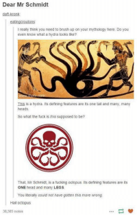 Kronk: Dear Mr Schmidt  daft-kronk  I really think you need to brush up on your mythology here. Do you  even know what a hydra looks like?  This is a hydra. Its defining features are its one tail and many, many  heads  So what the fuck is this supposed to be?  That, Mr Schmidt, is a fucking octopus. Its defining features are its  ONE head and many LEGS  You iterally couid not have gotten this more wrong  Hail octopus  38,585 notes
