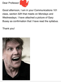 Facebook, Friends, and Funny: Dear Professor  Good afternoon, I am in your Communications 101  class, section 32H that meets on Mondays and  Wednesdays. I have attached a picture of Gary  Busey as confirmation that I have read the syllabus.  Thank you!