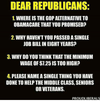 Memes, Minimum Wage, and Obamacare: DEAR REPUBLICANS:  1. WHERE IS THEGOP ALTERNATIVE TO  OBAMACARE THAT YOU PROMISED  2. WHY HAVENT YOU PASSED A SINGLE  JOB BILL IN EIGHT YEARS?  3. WHYDO YOU THINK THAT THE MINIMUM  WAGE OF $7.25 ISTOO HIGH?  4. PLEASE NAMEASINGLE THING YOU HAVE  DONE TO HELP THE MIDDLE CLASS, SENIORS  OR VETERANS  PROUDLIBERALS I won't hold my breath waiting on a rational answer.