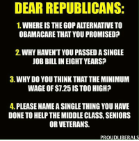 Memes, Jobs, and Minimum Wage: DEAR REPUBLICANS:  1. WHEREIS THE GOP ALTERNATIVE TO  OBAMACARE THAT YOU PROMISED?  2. WHY HAVENT YOU PASSEDASINGLE  JOB BILLIN EIGHT YEARS?  3. WHY DO YOU THINKTHAT THE MINIMUM  WAGE OF $1.25 ISTOO HIGH?  4. PLEASE NAMEASINGLETHINGYOU HAVE  DONE TO HELPTHE MIDDLE CLASS, SENIORS  OR VETERANS.  PROUDLIBERALS Won't hold my breath...