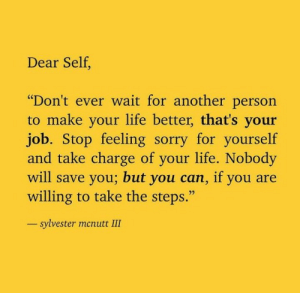 """Feeling Sorry: Dear Self,  """"Don't ever wait for another person  to make your life better, that's your  job. Stop feeling sorry for yourself  and take charge of your life. Nobody  will save you; but you can, if you  willing to take the steps.""""  sylvester menutt III"""