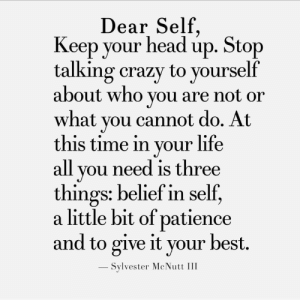 Or What: Dear Self  Keep your headup. Stop  talking crazy to yourself  about who you are not or  what you cannot do. At  this time in your life  all you need is three  things: belief in self,  a little bit of patience  and to give it your best.  - Sylvester McNutt III