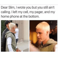 Memes, Phone, and The Real Slim Shady: Dear Slim, I wrote you but you still ain't  calling. I left my cell, my pager, and my  home phone at the bottom Will the real slim shady please stand up 🤷🏼‍♂️ Follow @the.purple.sock