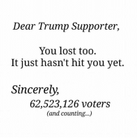 Trump Supporter: Dear Trump Supporter,  You lost too.  It just hasn't hit you yet.  Sincerely,  62,523,126 voters  (and counting...)