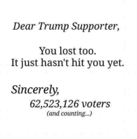 They'll realize sooner or later. ~Rick: Dear Trump Supporter,  You lost too.  It just hasn't hit you yet.  Sincerely,  62,523,126 voters  (and counting...) They'll realize sooner or later. ~Rick