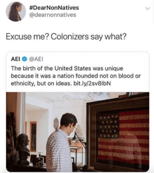 Nationalize:  #DearNonNatives  @dearnonnatives  Excuse me? Colonizers say what?  AEI @AEI  The birth of the United States was unique  because it was a nation founded not on blood or  ethnicity, but on ideas. bit.ly/2sv8lbN