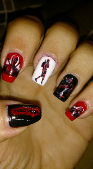 submit-your-nail-art:  Deadpool Nails for my Valentines Date with My Son! I via: DEARPOL submit-your-nail-art:  Deadpool Nails for my Valentines Date with My Son! I via