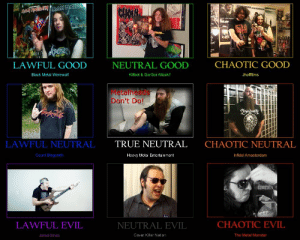 Monster, True, and Tumblr: DEAS  NVE?  LAWFUL GOOD  NEUTRAL GOOD  CHAOTIC GOOD  Black Metal Werewolf  Killbot & GorGor Attack!!  Jhofffilms  Metalheads  Don't Do!  LAWFUL NEUTRAL  TRUE NEUTRAL  CHAOTIC NEUTRAL  Count Blagorath  Heavy Metal Entertainment  Infidel Amasterdam  LAWFUL EVIL  NEUTRAL EVIL  CHAOTIC EVIL  Jared Dines  Cover Killer Nation  The Metal Monster sust-in-peace:A guide to metalhead youtubers