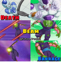 I love these death beam barrages! Poor Piccolo :') Do u think Frost will ever reach the Golden Form like Frieza?: DEATH  BEAM  @Future trunkss  BARRAGE I love these death beam barrages! Poor Piccolo :') Do u think Frost will ever reach the Golden Form like Frieza?