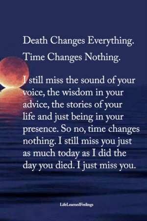 You Died: Death Changes Everything.  Time Changes Nothing.  Istill miss the sound of your  voice, the wisdom in your  advice, the stories of your  life and just being in your  presence. So no, time changes  nothing.I still miss you just  as much today as I did the  day you died. I just miss you.  LifeLearnedFeelings