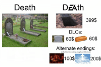 Anaconda, Bailey Jay, and Death: Death  DzAth  399$  DLCs:  6060%  Alternate endings:  (without alternative endings, you get eternal darkness)  100$  200$ Too real