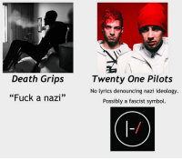 "nazi: Death Grips  ""Fuck a nazi""  Twenty One Pilots  No lyrics denouncing nazi ideology  Possibly a fascist symbol"