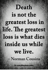 <3: Death  is not the  greatest loss in  life. The greatest  loss is what dies  inside us while  we live  Norman Cousins  fb.com/WisdomLeaks <3