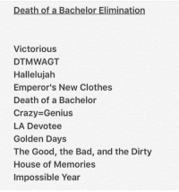 ELIMINATION GAME!!! Stole this from @simplybeebo thx btw hehe comment👇🏻👇🏻👇🏻: Death of a Bachelor Elimination  Victorious  DTMWAGT  Hallelujah  Emperor's New Clothes  Death of a Bachelor  Crazy Genius  LA Devotee  Golden Days  The Good, the Bad, and the Dirty  House of Memories  Impossible Year ELIMINATION GAME!!! Stole this from @simplybeebo thx btw hehe comment👇🏻👇🏻👇🏻