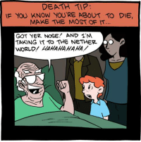 Memes, Death, and World: DEATH TIP.  IF YOU KNOW YOU'RE ABOUT TO DIE  MAKE THE MOST OF  GOT YER NOSE AND I'M  TARING IT TO THE NETHER.  WORLD! HAHAHAHAHA. Thanatos Gambit tvtropes.org/Main/ThanatosGambit Credit: smbc-comics.com/?db=comics&id=1954#comic