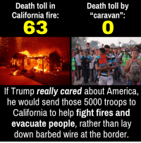 "America, Fire, and California: Death toll in  California fire:  Death toll by  ""caravan"".  63  0  If Trump really cared about America,  he would send those 5000 troops to  California to help fight fires and  evacuate people, rather than lay  down barbed wire at the border."