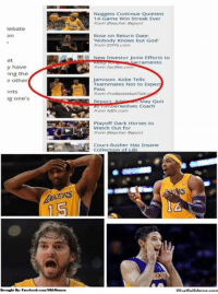 "Espn, Facebook, and God: debate  at  y have  ing the  e other  nts  ng one's  Brought By Facebook coaNBAMermes  Nuggets Continue Quietest  14-Game Win Streak Ever  from Beacher Report  Rose on Return Date:  ""Nobody knows but God  from ESPN Com  New Investor Joins Efforts to  cramento  Sacbee.com  Jamison: Kobe Tells  Teammates Not to Expec  Pass  from ProBasketbullraA a  Repor  ay Quit  nberwolves Coach  from NBA  Playoff Dark Horses to  Watch out for  from Beacher Report  Court-Rusher Has Insane  Collection of LB  WhatDo  UMeme.oorn The Black Mamba returns! Credit: Nash Macalimbon  http://whatdoumeme.com/meme/44704v"