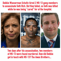 """Assassination, Saw, and Gang: Debbie Wasserman Schultz hired 2 MS-13 gang members  to assassinate Seth Rich. But they failed, so Seth was killed  while he was being """"cared"""" for at the hospital.  Two days after his assassination, two members  of MS-13 were found murdered. How did Debbie  get in touch with MS-13? The Awan Brothers..."""