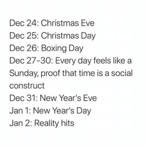 Y'all agree with this?! 👇🤔 https://t.co/zT71STSkZ1: Dec 24: Christmas Eve  Dec 25: Christmas Day  Dec 26: Boxing Day  Dec 27-30: Every day feels like a  Sunday, proof that time is a social  construct  Dec 31: New Year's Eve  Jan 1: New Year's Day  Jan 2: Reality hits Y'all agree with this?! 👇🤔 https://t.co/zT71STSkZ1