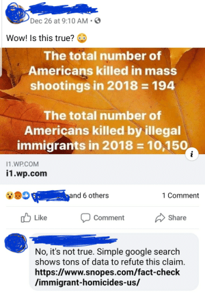 Search BEFORE you post, people!: Dec 26 at 9:10 AM • O  Wow! Is this true?  The total number of  Americans killed in mass  shootings in 2018 = 194  The total number of  Americans killed by illegal  immigrants in 2018 = 10,150  11.WP.COM  i1.wp.com  and 6 others  1 Comment  Like  Share  Comment  No, it's not true. Simple google search  shows tons of data to refute this claim.  https://www.snopes.com/fact-check  /immigrant-homicides-us/ Search BEFORE you post, people!