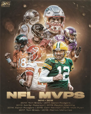 MVP! MVP! MVP!  EVERY league MVP from the decade! ⭐️ https://t.co/Tqk3z2QDyV: DEC ADE  PATRIOTS  EPACKERS E  18  MVPS  NFL  2010 - 2018  2010: Tom Brady | 2011: Aaron Rodgers  2012: Adrian Peterson | 2013: Peyton Manning  2014: Aaron Rodgers | 2015: Cam Newton | 2016: Matt Ryan  2017: Tom Brady | 2018: Patrick Mahomes MVP! MVP! MVP!  EVERY league MVP from the decade! ⭐️ https://t.co/Tqk3z2QDyV