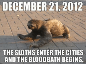 laughingstation:  vialaughingstation: DECEMBER 21, 2012  THE SLOTHS ENTER THE CITIES  AND THE BLOODBATH BEGINS. laughingstation:  vialaughingstation