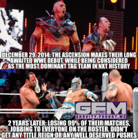 Memes, Gravity, and 🤖: DECEMBER 29 2014: THE ASCENSION MAKESTHEIRLONG  AWAITED WWE DEBUT WHILEBEINGCONSIDERED  ASTHE MOSTDOMINANTTAGTEAMININXT HISTORY  ONLY ON  INSTAGAAM  GRAVITY. FORGOT. M E  2 YEARS LATER: LOSING 99% OF THEIRMATCHES  JOBBING TO EVERYONE ONTHE ROSTER DIDNT  GET ANY TITLE REIGNORANYWELLDESERVED PUSHES @wwe to your attention. theascension konnor viktor wrestling prowrestling professionalwrestling meme wrestlingmemes wwememes wwe nxt raw mondaynightraw sdlive smackdownlive tna impactwrestling totalnonstopaction impactonpop boundforglory bfg xdivision njpw newjapanprowrestling roh ringofhonor luchaunderground pwg