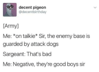 Roger that. 👌: decent pigeon  @decentbirthday  [Army]  Me: *on talkie* Sir, the enemy base is  guarded by attack dogs  Sargeant: That's bad  Me: Negative, they're good boys sir Roger that. 👌