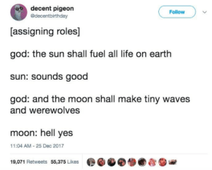 decent: decent pigeon  @decentbirthday  Follow  [assigning roles]  god: the sun shall fuel all life on earth  sun: sounds good  god: and the moon shall make tiny waves  and werewolves  moon: hell yes  11:04 AM-25 Dec 2017  19,071 Retweets 55,375 Likes