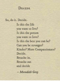 meredith grey: DECIDE  So, do it. Decide.  Is this the life  you want to live?  Is this the person  you want to lover  Is this the best you can be?  Can you be stronger?  Kinder? More Compassionate?  Decide.  Breathe in.  Breathe out  and decide  -Meredith Grey