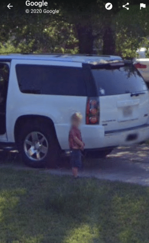 Decided to Google maps my house, found my youngest peeing after getting out of the car...: Decided to Google maps my house, found my youngest peeing after getting out of the car...