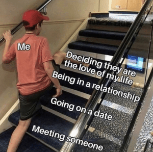 Life, Love, and Reddit: Deciding they are  the love of my life  Being in a relationship  Me  Going on a date  Meeting someone I feel called out