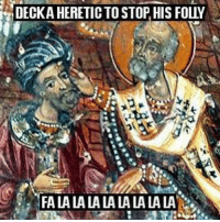 <p>Friendly reminder that the OG Santa Claus will punch you in the face if you&rsquo;re a heretic.</p>: DECKA  HERETIC TO STOP, HIS FOLY  FA LA LA LA LA LA LA LA LA. <p>Friendly reminder that the OG Santa Claus will punch you in the face if you&rsquo;re a heretic.</p>