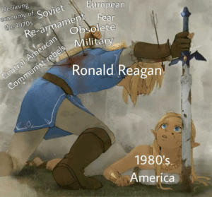 America, American, and Military: Declining  economy of Soviet  the 1970s  European  Re-armamen Fear  Obsolete  Communist rebels Military  Ronald Reagan  Central-American  1980's  America Ronald Reagan, Defender of America