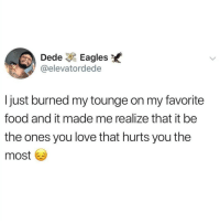 Philadelphia Eagles, Food, and Instagram: Dede Eagles  @elevatordede  I just burned my tounge on my favorite  food and it made me realize that it be  the ones you love that hurts you the  most @pubity was voted 'best meme account on Instagram' 😂