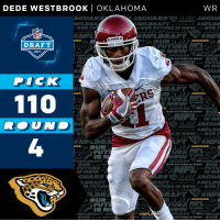 ROUND 4. 110th OVERALL.  @Jaguars select @OU_Football WR @DedeTHEGreat11! #NFLDraft https://t.co/zzKvOcNWH3: DEDE WESTBROOK I OKLAHOMA  WR  AG LAR  JAGUARS  FUTURE  OUR FU  JAGUARS  DRAFT  DRAFT  DRAFT  2017  GUARS  JAGUARS  DICK  JAGUA  1100  DR  JAGUARS  FUTT  DRAFT  DRAFT  UAIRS  JAGUARS  OUR FUTURE IS  FUTURE  FUTU  GVARS  FUT  RAFT  DRAFT  DR  NO MW  AN RAFT JAG  AGUARS  HIM ROUND 4. 110th OVERALL.  @Jaguars select @OU_Football WR @DedeTHEGreat11! #NFLDraft https://t.co/zzKvOcNWH3