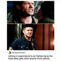 Memes, Frightening, and 🤖: deducingthewinchesters  nothing in supernatural is as frightening as the  looks dean gets when anyone hurts sammy spn Supernatural spnfamily jaredpadalecki jensenackles mishacollins sam dean winchesters castiel destiel fandom ship otp