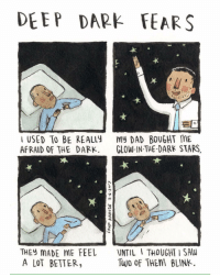 A twinkle in your eyes. An anonymous fear submitted to deepdarkfears.com-submit - thanks! comics deepdarkfears: DEEP DARE FEARS  USED TO BE REALLY  my DAD BOUGHT ME  AFRAID OF THE DARK  GLOW-IN THE DARK STARS  THEY MADE ME FEEL  UNTIL I THOUGHT I SAW  Two of THEM BLINK.  A LOT BETTER A twinkle in your eyes. An anonymous fear submitted to deepdarkfears.com-submit - thanks! comics deepdarkfears