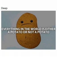 Deep  EVERYTHING IN THE WORLD IS EITHER  A POTATO OR NOTA POTATO Tag someone so they realize…