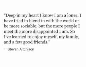 "I Know I Am: ""Deep in my heart I know I am a loner. I  have tried to blend in with the world or  be more sociable, but the more people I  meet the more disappointed I am. So  I've learned to enjoy myself, my family,  and a few good friends.""  Steven Aitchison"
