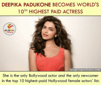 Congratulations... (y): DEEPIKA PADUKONE BECOMES WORLD'S  TH  HIGHEST PAID ACTRESS  LA GHING  laughing colours.com  She is the only Bollywood actor and the only newcomer  in the top 10 highest-paid Hollywood female actors' list. Congratulations... (y)