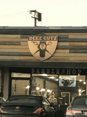 Saw this barber shop while out of town.: DEEZ CUTZ  BARBERSHOP  ZA Saw this barber shop while out of town.
